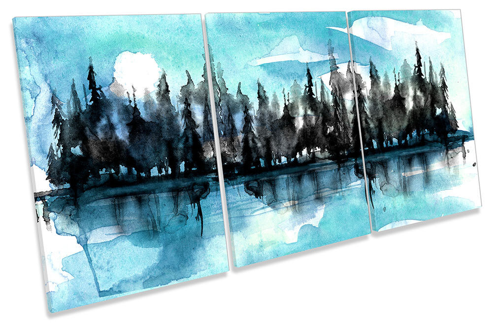 Forest River Watercolour Trees Framed CANVAS PRINT TREBLE Wall Art
