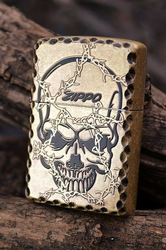 Japanese Zippo Lighter - Japan - Barbed Wire Skull ... Zippo Lighter Skull Designs