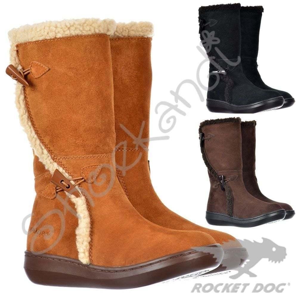 Da Donna Autentico Rocket Dog inclinazione Classic Vitello Pelliccia Invernale Stivali in pelle scamosciata della mucca taglia