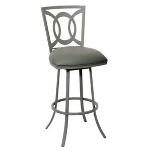 Fine Details About Armen Living Drake Faux Leather Metal Swivel Bar Stool In Gray Theyellowbook Wood Chair Design Ideas Theyellowbookinfo