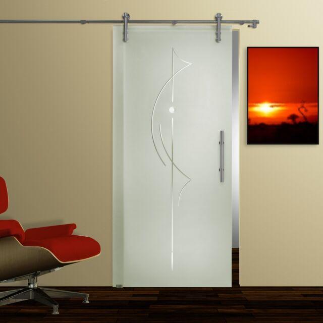 Glasschiebetür, V1000, Satinato Rillenschliff Facettenstein ST 907, Griffstange