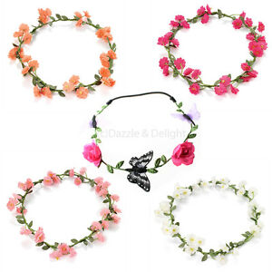 Image is loading FLOWER-HEAD-GARLAND-CROWN-FLORAL-HAIR-GARLAND-FESTIVAL- a915c21d796