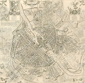 LARGE VINTAGE Historic PARIS FRANCE OLD ANTIQUE STREET STYLE - Large map of paris france