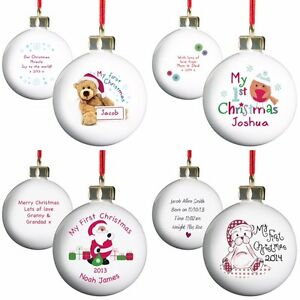 PERSONALISED-BABY-039-S-MY-FIRST-1ST-CHRISTMAS-TREE-BAUBLES-UNIQUE-PRESENT-GIFT-IDEA