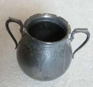 Pewter Shaw & Fisher - Two Handel Pot - Suffolk Road Sheffield - Art Deco