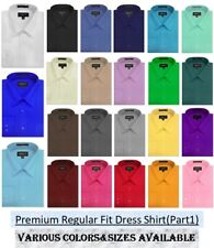 MENS Solid Long Sleeve Premium Regular fit Dress Shirt, 26 Colors, Part 1