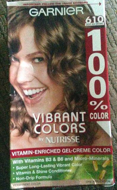 Garnier Hair Color Light Ash Brown 610 100% Color Vitamin Enriched  Gel Creme, Images