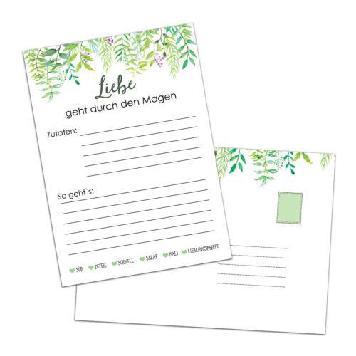 "50 Rezeptkarten /""Grüne Hochzeit/"" DIN A6 Hochzeitsspiel Rezepte"