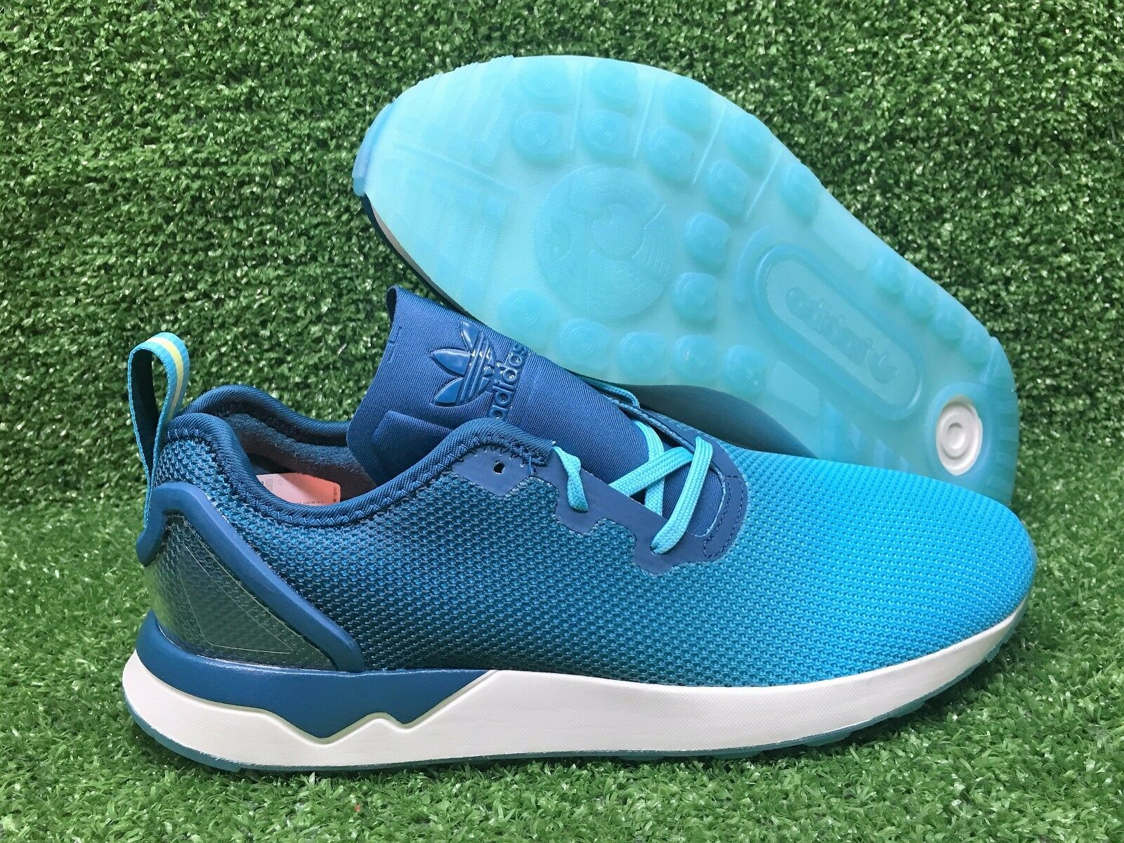 NEW ADIDAS ORIGINAL ZX FLUX ADV ASYMMETRICAL MENS SHOE BLUE GLOW/MINERAL S79056