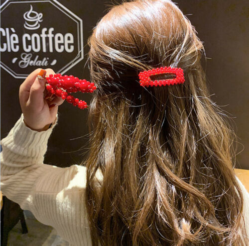 Neu Frauen rote Farbe Perle Haarspange Snap Barrette Stick Haarnadel Haarschmuck
