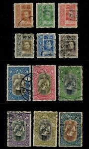 1912-Thailand-Siam-Stamp-King-Vajiravudh-034-Vienna-034-Complete-Set-Sc-145-56-Used