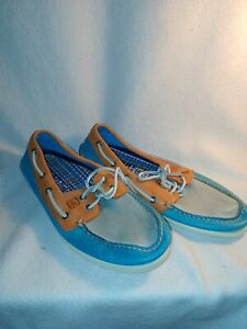 Men's Sperry Burnished Blue Orange Gray Tritone Top Siders Boat Shoes Size 11M