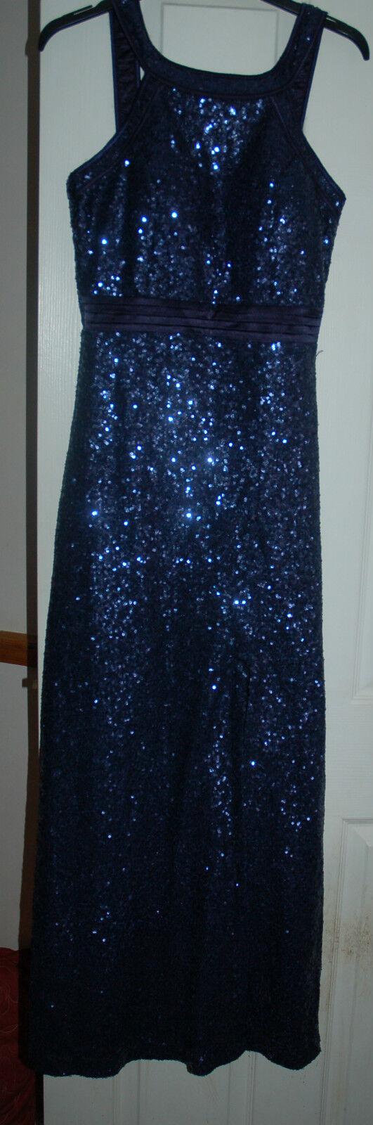 NEW Sz 8 Midnight Blau Sequin Maxi Party Dress Kick Pleat Satin cummerbund