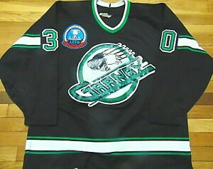 GAME-WORN-AUTHENTIC-CCM-CRANBY-BISONS-1993-STONE-HOCKEY-JERSEY-SIZE-54