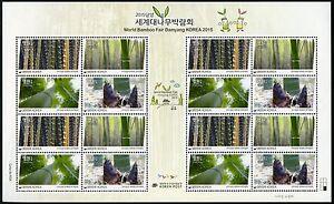 Korea-Sued-2015-Bambus-Bamboo-Pflanzen-Plants-Baeume-Trees-3095-98-Kleinbogen-MNH