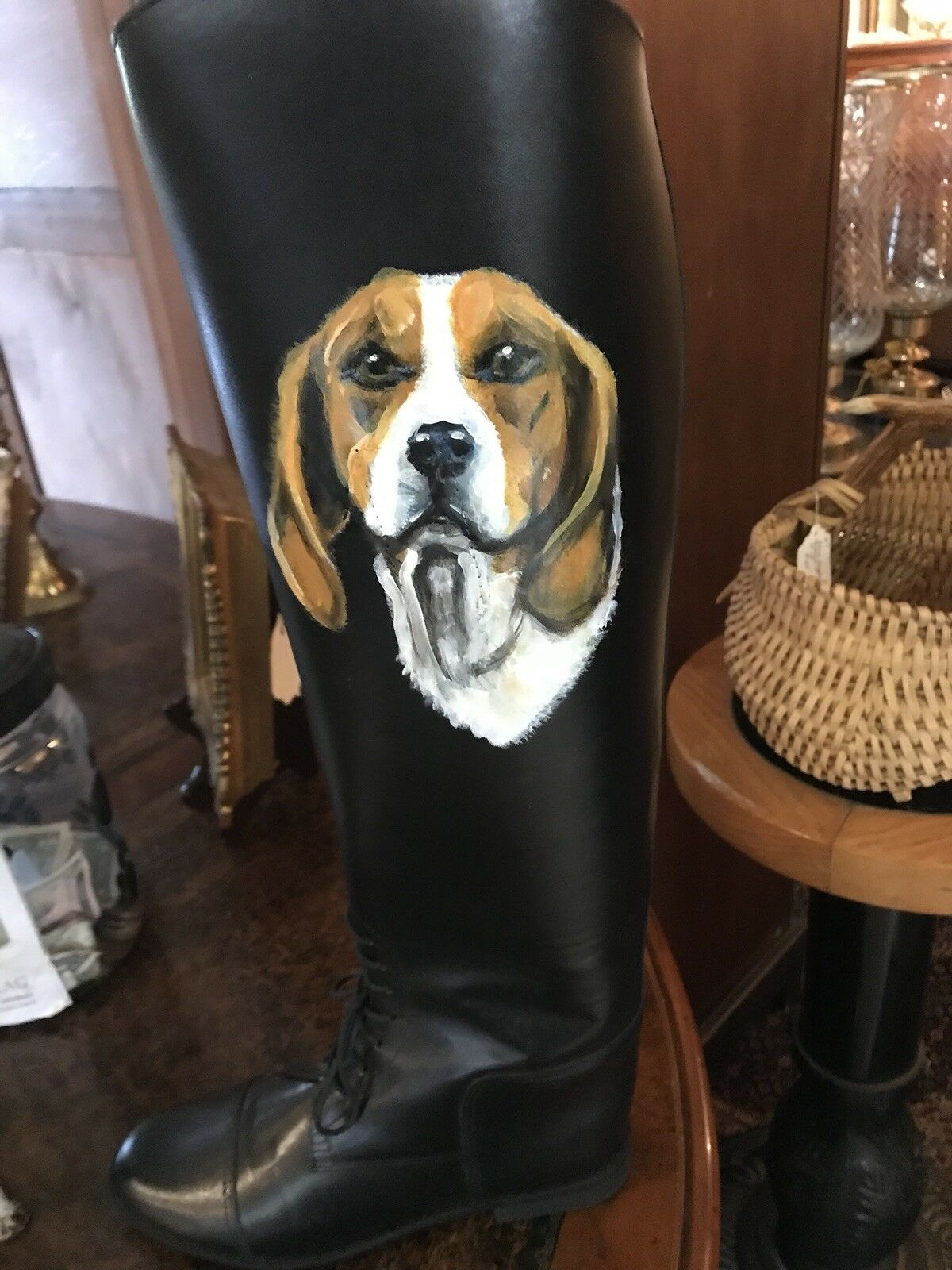 Woman's Equestrian English Hunt Boot Painted With A Hound, Art, Fox Hunting JIS