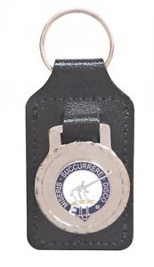 MacMillan Scottish Clan Black Leather & Enamel Key Fob