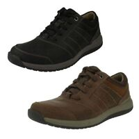 Mens Clarks Leather Lace Up Casual Shoes Black/tan Sizes 7-12 Ryley Street