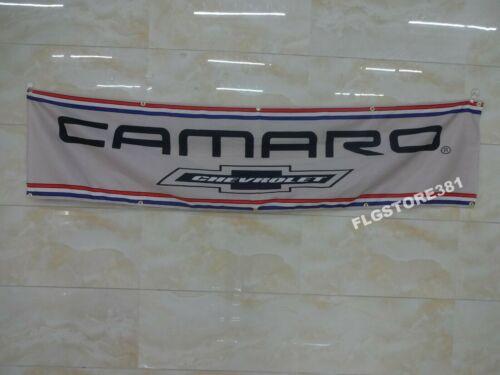 Chevrolet Camaro Flag Banner 2x8ft Man Cave Garage Wall Decor Large Banner