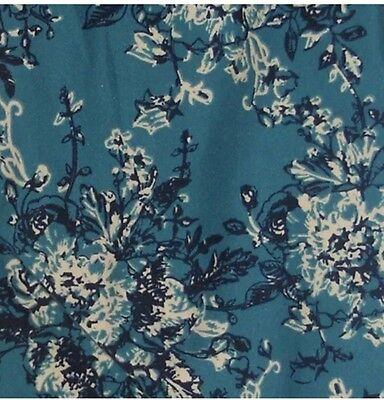 NWT LuLaRoe Leggings ~ OS ~ TEAL AQUA /& CREAM FLOWERS SCROLLS ~ *Floral Unicorn*