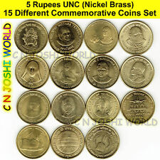 Very Rare 15 Different Nickel Brass 5 Rupees Commemorative Five Rupees UNC Set