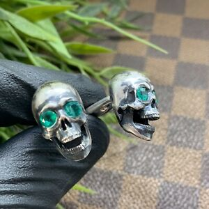 Skull-Cufflinks-Handcrafted-Sterling-Silver-925-set-with-real-Emerald-Green
