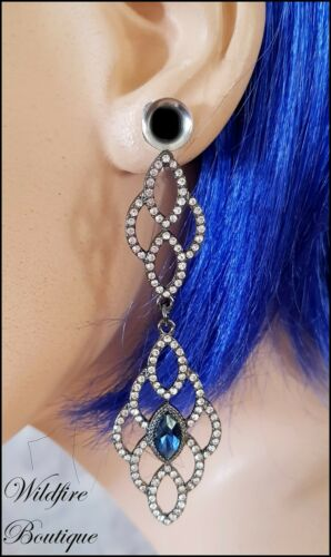 Pair Silver Crystal Long Double Dangle Stainless Steel Ear Tunnels Plugs 6-20mm