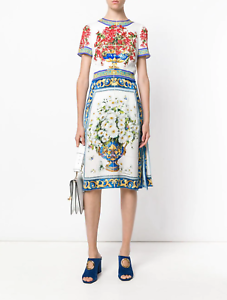 NWT-2275-DOLCE-amp-GABBANA-Majolica-Vase-Floral-print-silk-dress-38-40-IT