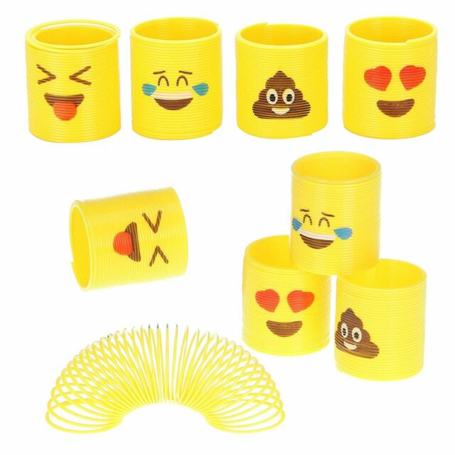 Emoji Coil Spring Plastic Slinky School Class Birthday Party Game Toy Gift 24pc