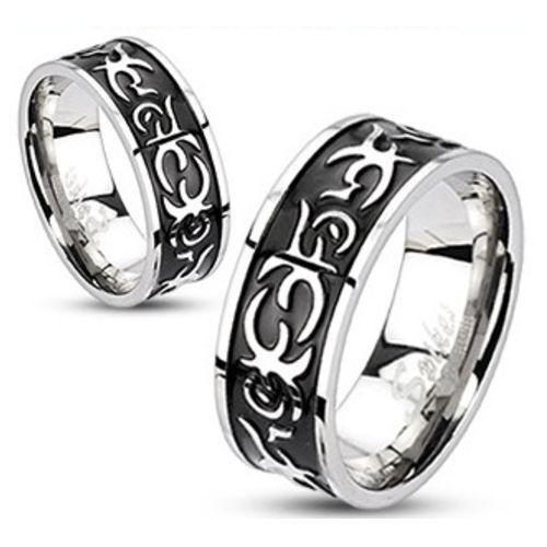 Men/'s Women/'s Stainless Steel Centre Black IP Casted Tribal Band Ring