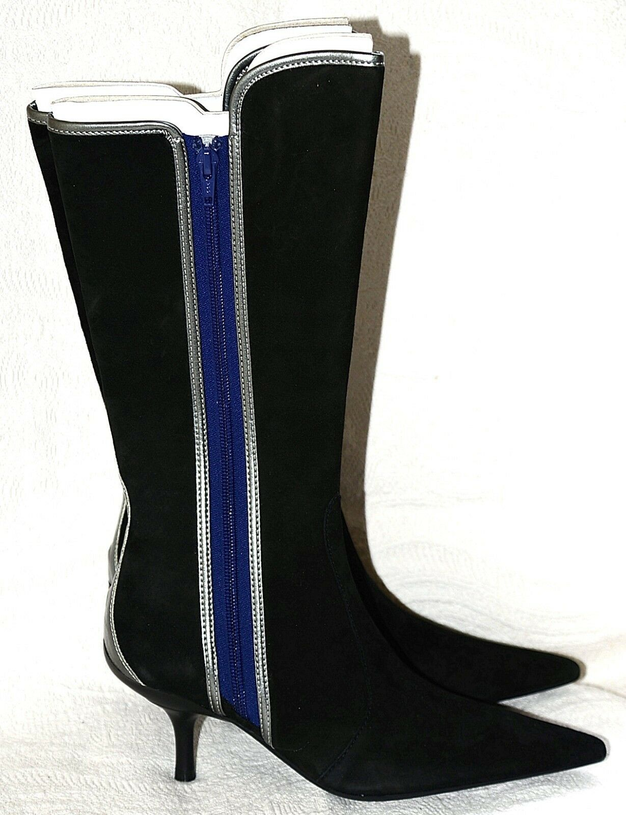 New Fornarina Suede pointed Boots with bluee and silver accents