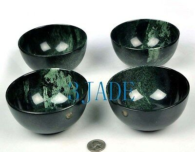 Hand Carved Natural Green YU Stone Bowl