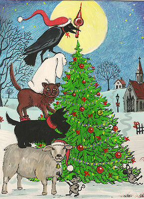 5x7 CROW RYTA PRINT OF PAINTING XMAS CAT FOLK SCOTTISH TERRIER SHEEP MOUSE BUNNY