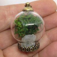 Metaphysical Terrarium Bubble Glass Pendant Necklace Clear Quartz