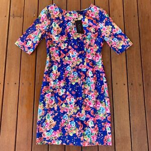 New With Tags EZRA Collection Size M Blue Base Floral Sheath Dress Short Sleeve
