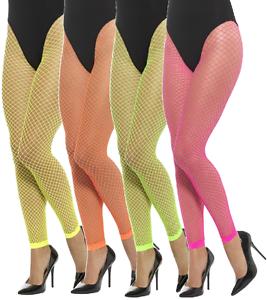 1b28f01f3 Image is loading Ladies-Neon-Fishnet-Footless-Yellow-Orange-Pink-Green-