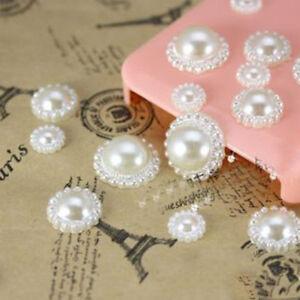 100PCS DIY Craft Flat Back Pearl Flower Beads Wedding Phone Embellishments 13mm