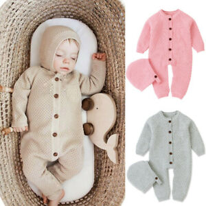Newborn Baby Girl Boy Winter Hooded Fur Warm Romper Jumpsuit Knitted Outfits