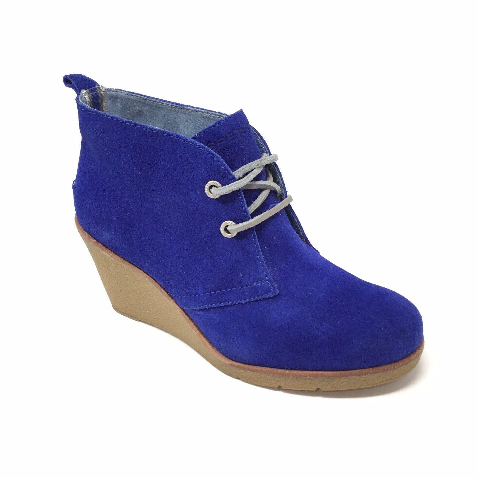 Sperry Harlow Plain Toe Talon Compensé Cheville Pointure 6.5 Bleu cobalt en daim