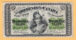 Dominion-of-Canada-25-Cents-VF-Plain-Series-1870-P-8a-DC-1c-Banknote