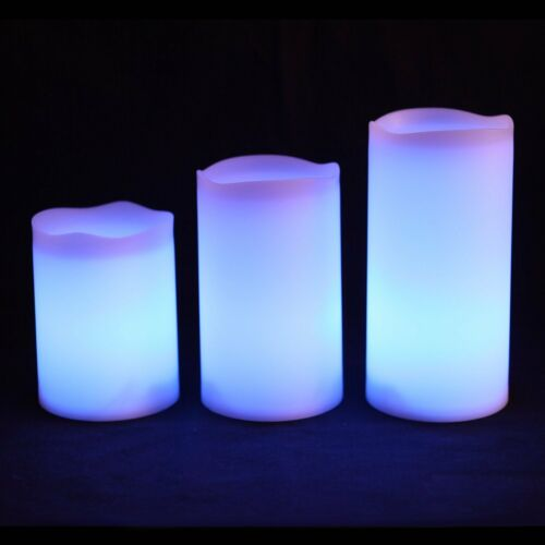 3 Wax Flameless Colour Changing Remote Control Candles Flicker Battery Candle