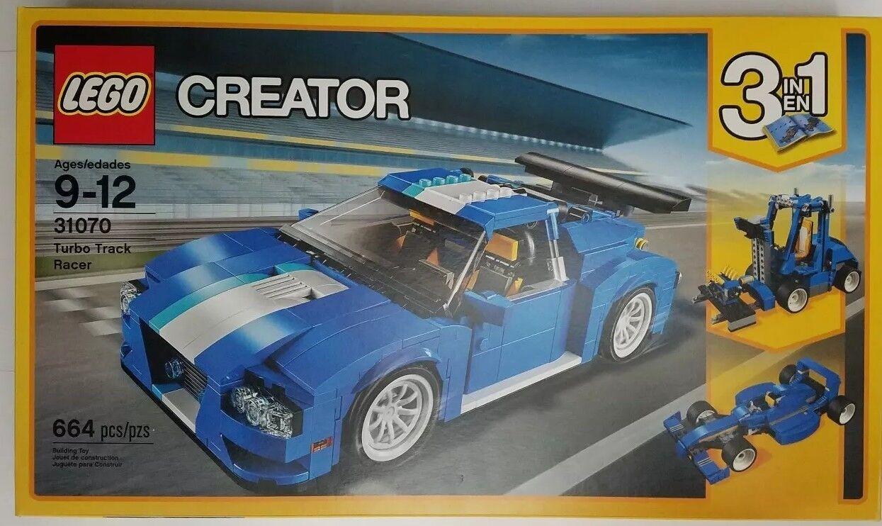 Lego Creator 31070 3 en 1 Turbo Track Racer Azul 664 piezas Conjunto de Construcción de coche de carrera