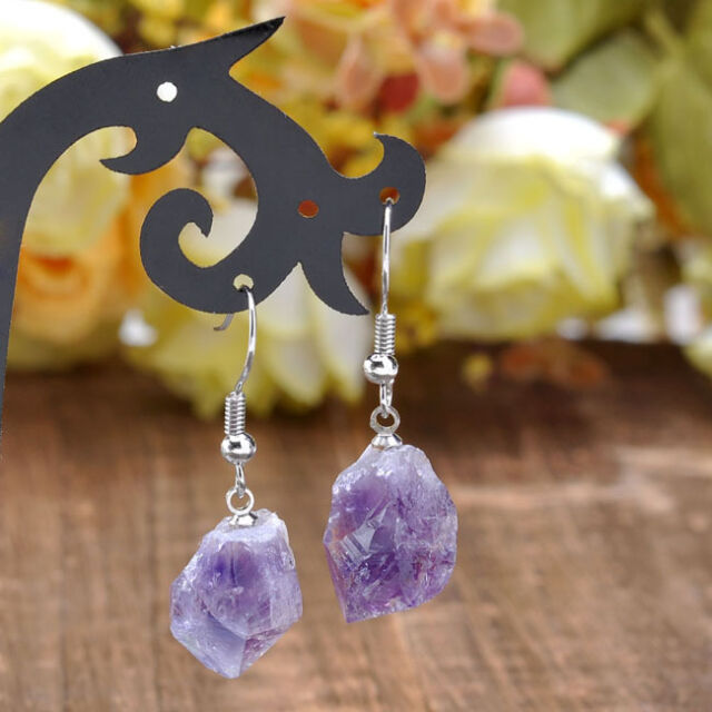 Pair 22G Free Form Amethyst Stone Dog Teeth Bead Eeardrop Ear Stud Hook Earrings