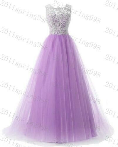 Long Lace Evening Formal Party Ball Gown Prom Bridesmaid Dress Stock Size 6-22