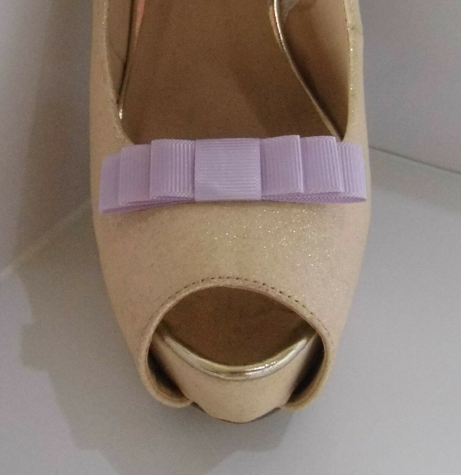 2 Small Triple Lilac Grosgrain Shoe Clips - other colours on request