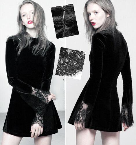 Robe mini velours gothique lolita sixties sexy élégant Bardot dentelle PunkRave