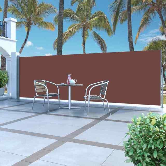 vidaXL Seitenmarkise Ausziehbar 120x500cm Blau Sichtschutz Windschutz Terrasse