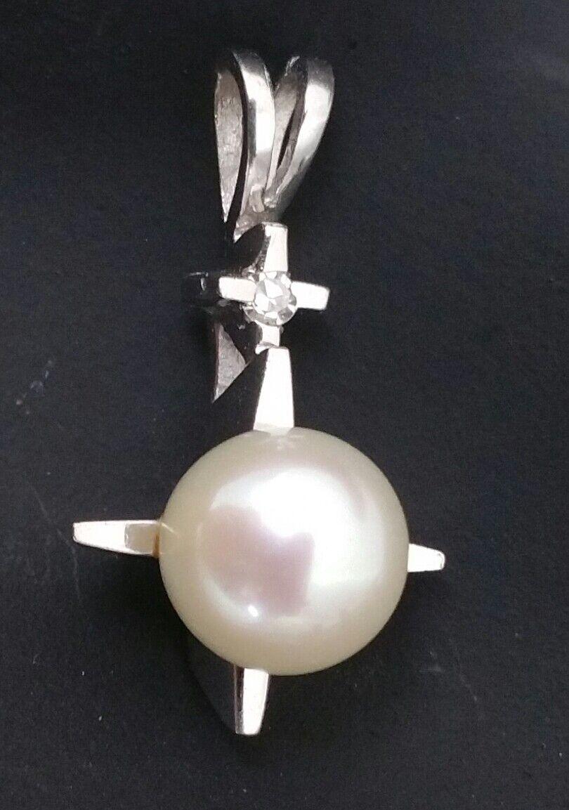 Handmade 14 Karat White gold 7.50mm Pearl & Diamond Pendant