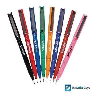ARTLINE 200 Fineliner Pens, Fine 0.4mm Tip, Assorted Box 12 (120041)