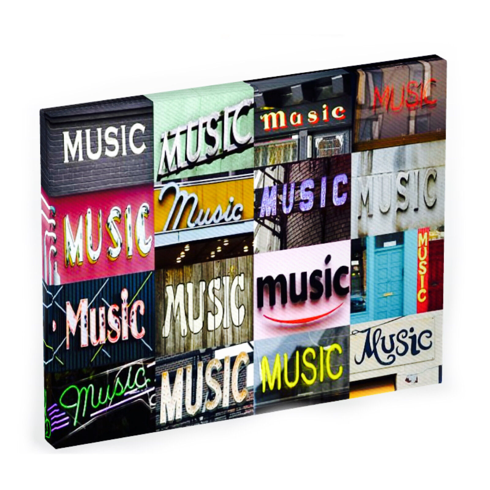 Personalized Photo Canvas featuring the word MUSIC in photos of signs